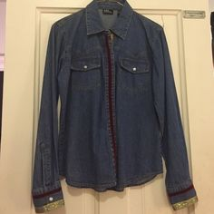 Denim shirt ! Denim long sleeved shirt ! Has fancy design work down the front and on the cuffs of the sleeves! Worn once! New York & Company Tops