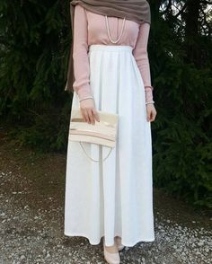 White skirt and blush blouse, maybe other accessory - check out: Esma <3