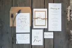 Wedding Invitations - Garden No. Elegant typographic design, single colour, ribbon and swing tag detail. Garden Wedding Invitations, Wedding Invitation Templates, Wedding Stationery, Paper Store, Typographic Design, Kraft Envelopes, Paper Goods, Thank You Cards, Your Cards