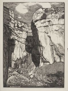 "Sydney Lee woodcut, ""The Ravine"""