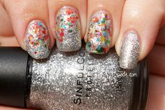 Confetti Disco: Sinful Colors's Queen of Beauty, Digital Nails's Spectraflair top coat, and Wacie Nail Company's Handful of Confetti