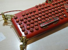 Version TWO : RED steampunk keyboard  LaFerri  by MagenKening