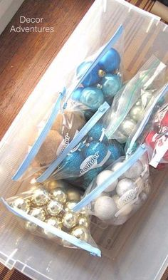 Use gallon-size baggies to sort your bulbs by color and shape. Next year, when you decorate the tree, you can hang ornaments by bag to space out your collection evenly.