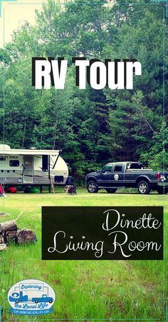 Get a RV Room Tour of the dining and living spaces. See what it looks like after 2 years of full time RV living with kids and pets!! #rvcamping #happycampers #rvingwithcats