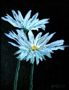 Modern Art Watercolor, Acrylic, and Oil Paintings: oil painting of flowers - daisies