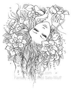 Coloring Book 1 - Aurora Wings - Fantasy Art of Mitzi Sato-Wiuff - Crafting To Go