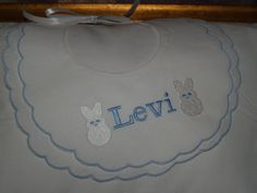 Personalized Blue and White Double Scalloped Cotton by Zadabug