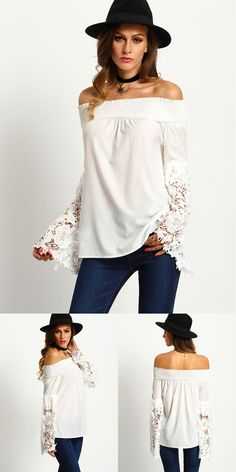 White strapless off shoulder top features sheer lace cuff sleeve that can be paired with denim jeans for an effortless beach look, perfect for the summer.