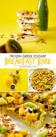 This Frozen Greek Yogurt Breakfast Bark recipe is a quick and healthy vegetarian breakfast recipe thats super flexible (and tasty!) Meal prep it at night and serve it in the morning for a high protein breakfast that will keep you energized all morning. via @liveeatlearn