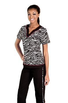 5a9460a496c Baby Phat Scrub Top Women's Print Animal Instinct Baby Phat Scrubs, Flare  Top, Fit