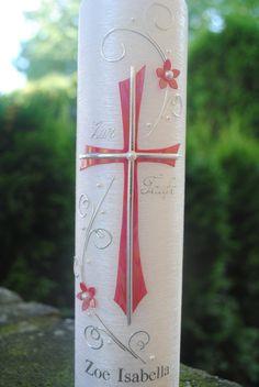 """Taufkerzen - Taufkerze """"Kreuz"""" perlmutt - ein Designerstück von Haensel-und-Gretel-Candleart bei DaWanda"""