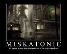 Typical student at Miskatonic University doing his homework.