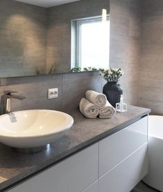 Grey Bathroom Renovation Ideas: bathroom remodel cost, bathroom ideas for small bathrooms, small bathroom design ideas Bathroom Renos, Bathroom Wall Decor, Grey Bathrooms, White Bathroom, Modern Bathroom, Bathroom Ideas, Stone Bathroom, Bathroom Vanities, Bathroom Remodeling