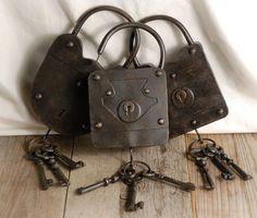 Wall Decor: Large Decorative Antique Padlocks Set of 3 with Skeleton Keys (3 locks) set
