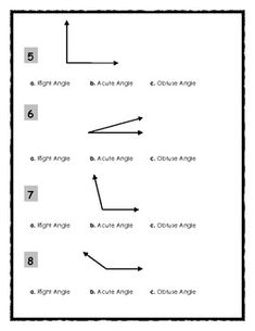 Identifying Right, Obtuse and Acute Angles - 2 pages. Subject ...