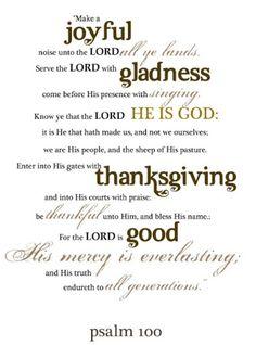 A BIG Thank You on Thanksgiving Psa 100