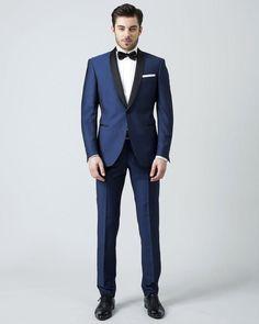 Blue Men black shawl lapel tuxedo Suit (Jacket+Pants)