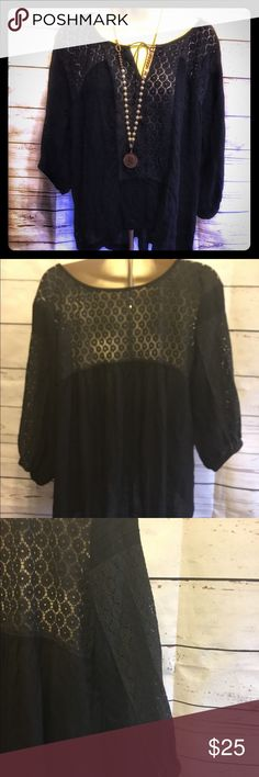 "Free People Hi Lo Babydoll Blouse Beautiful hi lo Top with lace detail. Front measures 21"" and back measures 24"" with 44"" bust. 100% rayon. Free People Tops Blouses"