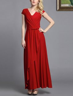 Faux Surplice Evening Dress - Rose Embellished Red Maxi