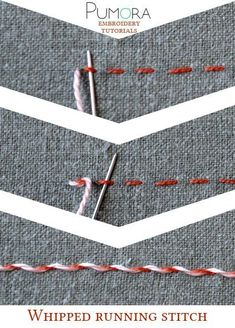 Pumora's lexicon of embroidery stitches: the whipped running stitch