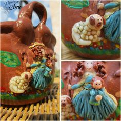 Divina pastora hecha con porcelana fría aplicada sobre una maceta