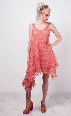 Crochet Ethnic dress KNIT coral linen Tunic CROCHET lace Women dress loose with lining Tunic  sleeveless crochet dress Lacy coral dress by CrochetDressTalita on Etsy