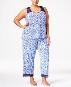 b8d141d5ac6 Thalia Sodi Plus Size Lace-Trimmed Peekaboo-Back Printed Pajama Set