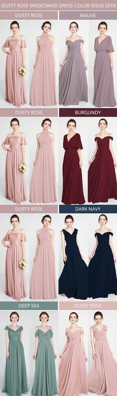 dusty rose bridesmaid dress color ideas 2018 #bridalparty #weddingcolors #bridesmaiddresses