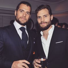 Jamie Dornan & Henry Cavill, 2015 Golden Globes party Aka Christian grey and gideon cross Way too much handsomeness in one room! Christian Grey, Christian Bale, Jamie Dornan, Gideon Cross, Hot Men, Sexy Men, Hot Guys, Justice League, Jackson