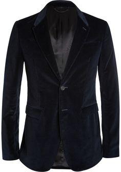 $1,595, Navy Velvet Blazer: Burberry Prorsum Navy Slim Fit Velvet Blazer. Sold by MR PORTER. Click for more info: http://lookastic.com/men/shop_items/144805/redirect