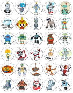 30 x Robot Party Rice Paper Fairy Cup Cake Toppers