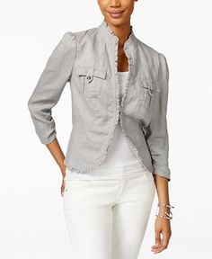 INC International Concepts Ruffle-Trim Linen Jacket, Only at Macy's - Jackets - Women - Macy's