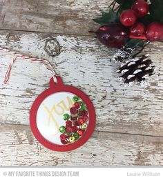 Handmade gift tags from Laurie WIllison featuring Hand-Lettered Christmas stamp set and Tag Builder Blueprints 6 Die-namics #mftstamps