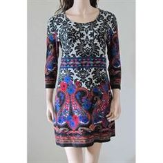 Maria Luisa Boutique | ML by Maria Luisa - Radzoli Fair Isle Paisly Tunic Dress 15637