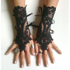 Black lace gloves french lace bridal gloves lace wedding fingerless... ($30) ❤…
