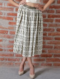 Off White Olive Ikat Cotton Leather Skirt