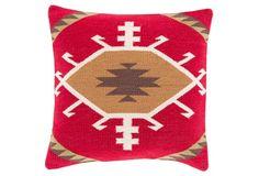 Kilim Cotton Pillow, Red