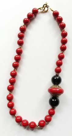 Red Necklace Mother of Pearl Necklace Boho Necklace Black