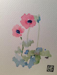 Poppy Watercolor Card от gardenblooms на Etsy