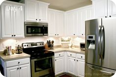 "Painted Kitchen cabinets and countertops, rustoleum ""desert sand"", @Laura Jayson Jayson Perry"