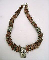 Leopardskin Jasper/fine silver hand made beads by Jill Endicott.