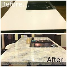 before and after Gorgeous, reflective white granite This blog tells you step by step how to achieve a gorgeous granite look for less!! She used Envirotex Lite to seal the countertops and give them a hard clear sheen.