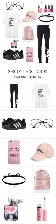 """""""Casual outfit."""" by crystalsx ❤ liked on Polyvore featuring NIKE, Zadig & Voltaire, adidas, Amici Accessories, Joomi Lim, Lancôme, Charlotte Russe and OPI"""