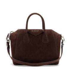 Givenchy - Antigona Small suede tote - Chocolate brown suede is a rich alternative to black. A structured shape with plenty of room for your make-up, tablet and daily necessities, you won't want to leave this one at home. Wear it over your shoulder or carry by the handles depending on your look. For modern sophistication, contrast it with neutrals. seen @ www.mytheresa.com