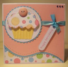 A gud use of coloured artsheets . Birthday Cards For Her, Bday Cards, Handmade Birthday Cards, Happy Birthday, Cupcake Card, Cupcake Crafts, Birthday Scrapbook, Cricut Cards, Recipe Cards