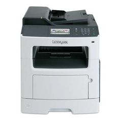 "Lexmark MX410de Black & White Laser Multifunction by Lexmark. $473.00. Lexmark MX410de Black & White Laser Multifunction Printer - Copy, Color Scan, E-mail, Fax, Up To 40PPM, 1200 x 1200 dpi, 4.3"" Touchscreen, Duplex, 512 MB, USB, Ethernet"