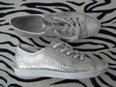 BAGATTI ITALY SILVER SNEAKERS SHOES FLATS LEATHER LACES SEXY SPORTY  #BAGATTI #FashionSneakers