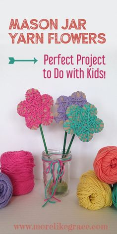 Mason Jar Yarn Flowers - Easy Yarn Flowers DIY Best Picture For crafts for teenagers For Your Taste You are looking for so - Easy Yarn Crafts, Yarn Crafts For Kids, Spring Crafts For Kids, Diy For Kids, Fun Crafts, Cardboard Crafts Kids, Decor Crafts, Diy Yarn Flowers, Flower Crafts Kids