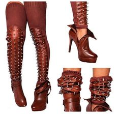 Handmade  Brown Full Spiked Leather  Thigh Highs by Gombeyza, $125.00