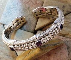 Judith Ripka 925 Sterling Silver Amethyst Hinged Cuff Bracelet #JudithRipka #Cuff